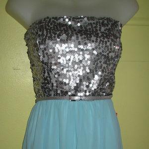 Silver Sequin & Aqua Chiffon Hi Low Party Dress 13